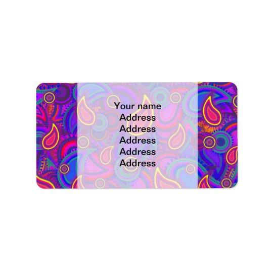 Purple Paisley Pattern Address Label