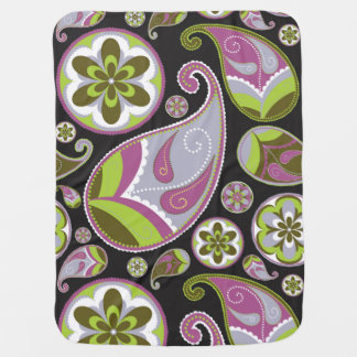 Purple Paisley Pattern Baby Blanket