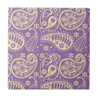 Purple Paisley Pattern Ceramic Tile
