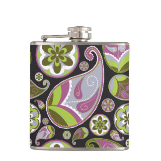 Purple Paisley Pattern Hip Flask