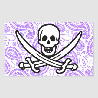 Purple Paisley Pattern Jolly Roger; Pirate Stickers