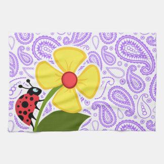 Purple Paisley Pattern; Ladybug Tea Towel