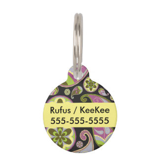 Purple Paisley Pattern Pet ID Tag