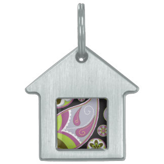 Purple Paisley Pattern Pet Tag