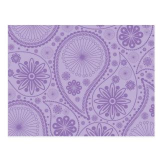 Purple paisley pattern postcard
