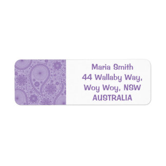 Purple paisley pattern return address label