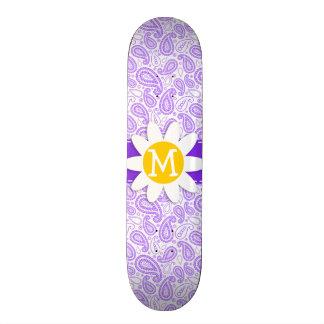 Purple Paisley Pattern Spring Daisy Skate Board Deck