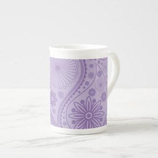 Purple paisley pattern tea cup
