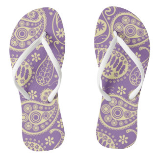 Purple Paisley Pattern Thongs