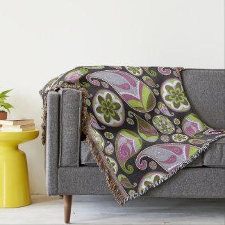 Purple Paisley Pattern Throw Blanket