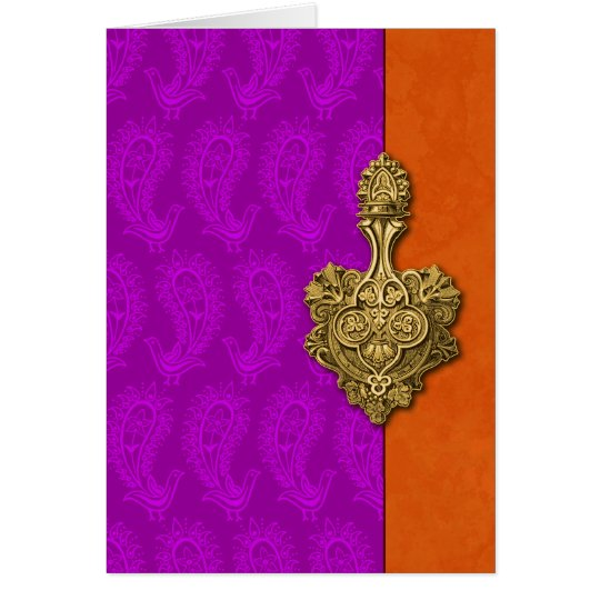 Purple Paisley Peacocks Indian Note Cards