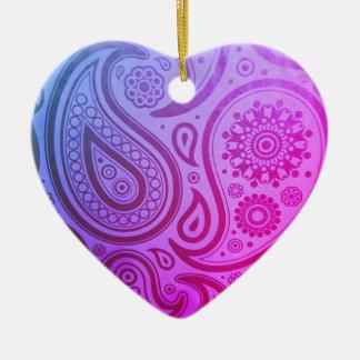 Purple Paisley Print Christmas Ornament