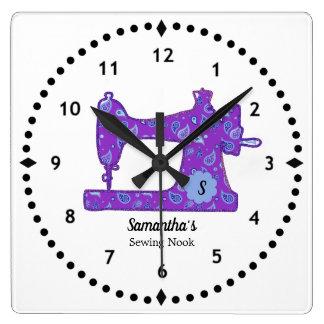 Purple Paisley Sewing Machine Large Clock