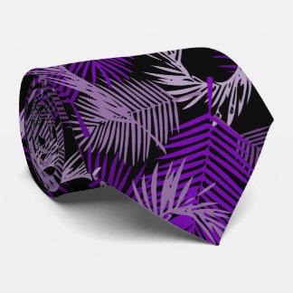 Purple Palm Leaves Pattern Tie
