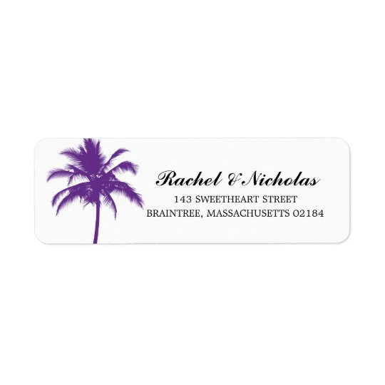 PURPLE Palm Tree | Return Address Return Address Label