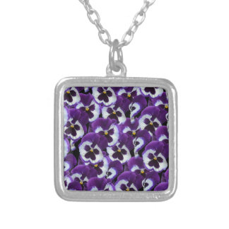Purple_Pansies_Bouquet,_ Silver Plated Necklace