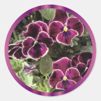 Purple Pansies Classic Round Sticker