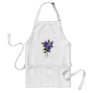 Purple Pansies: Color Pencil Floral Art: Gardener Standard Apron