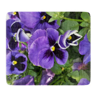 purple pansies cutting board