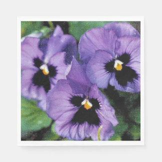 Purple Pansies Disposable Serviette