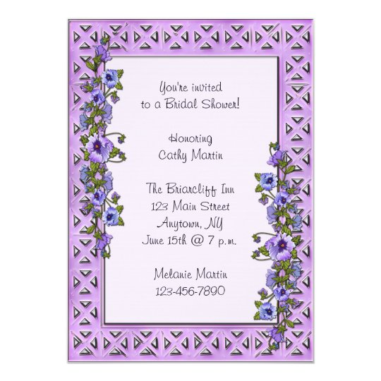Purple Pansies Invitation