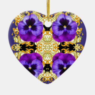 PURPLE PANSIES ON BLACK & GOLD BROCADE CERAMIC ORNAMENT