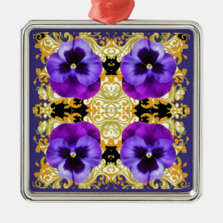 PURPLE PANSIES ON BLACK & GOLD BROCADE METAL ORNAMENT