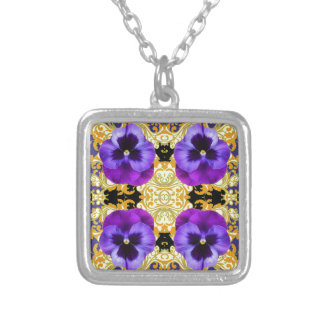 PURPLE PANSIES ON BLACK & GOLD BROCADE SILVER PLATED NECKLACE