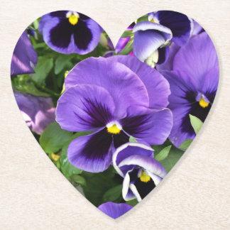 purple pansies paper coaster