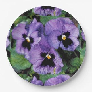 Purple Pansies Paper Plate