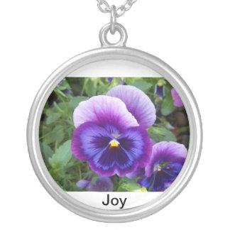 Purple Pansies Pendant Necklace