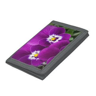 Purple Pansies Tri-fold Wallets