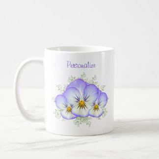 Purple Pansies With Name Basic White Mug