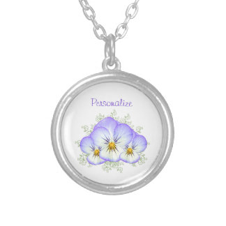Purple Pansies With Name Silver Plated Necklace