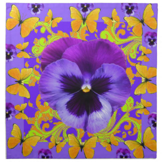 PURPLE PANSIES YELLOW BUTTERFLIES ABSTRACT FLORAL NAPKIN