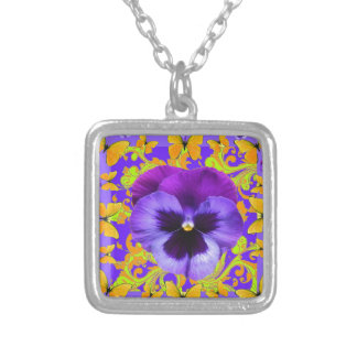 PURPLE PANSIES YELLOW BUTTERFLIES ABSTRACT FLORAL SILVER PLATED NECKLACE
