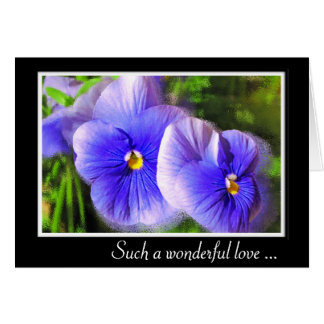 Purple Pansy Anniversary Card; Frosted Pansies Card