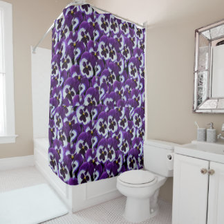 Purple_Pansy_Bouqet,_Bathroom_Shower_Curtain Shower Curtain