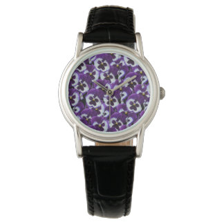 Purple Pansy Bouquet, Ladies Black Leather Watch. Watch