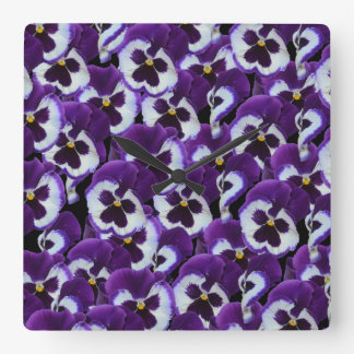 Purple Pansy Bouquet, Square Wall Clock