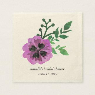 Purple Pansy Bridal Shower Napkins Disposable Serviette