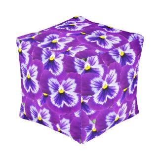 Purple Pansy Butterflies, Full Print Pouffe. Pouf