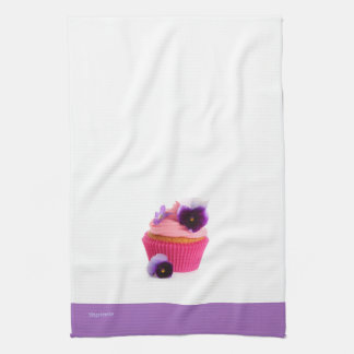 Purple Pansy Cupcake Tea Towel