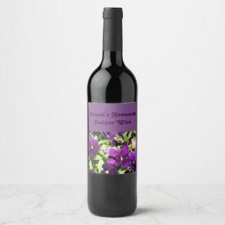 Purple Pansy Custom Wine Label