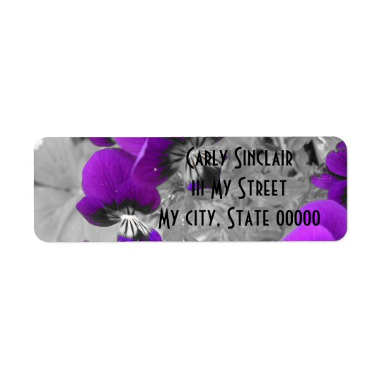 Purple Pansy Effect Return Address Label