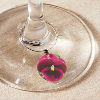Purple Pansy Floral Wine Charm