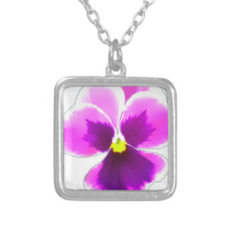 Purple Pansy Flower 201711 Silver Plated Necklace