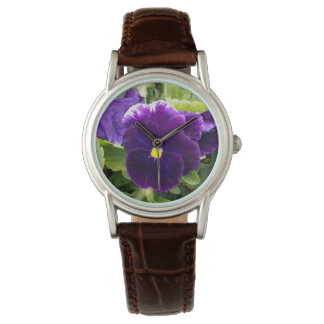 Purple_Pansy,_Ladies_Brown_Leather_Watch. Watch
