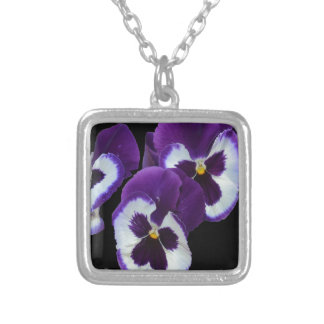 Purple_Pansy_Posy,_ Silver Plated Necklace