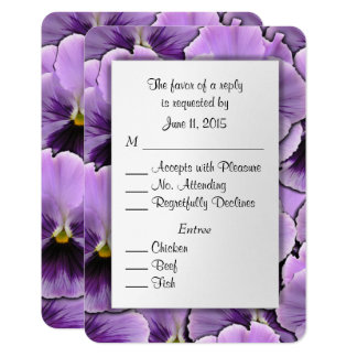 Purple Pansy RSVP Card with Entree Choices